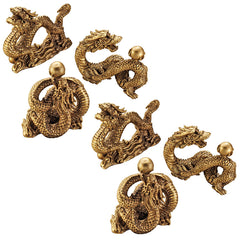 "4.5"" Good Luck Dragon Charm Sculpture Statues: Set of 3"