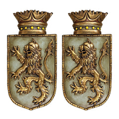 English European Medieval Lion Shield Wall Sculpture Decor - Set of 2