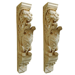 S/2 MANOR LION WALL SCULPTURES