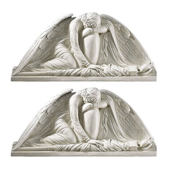 "10.5"" Antique Replica Victorian angel Architectural Wall Door Pediment - Set of 2"