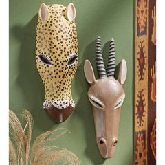"13"" African Wildlife Animal Jaguar Gemsbok Wall Mask Décor - Set of 2"