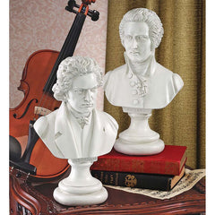 Great Composer Collection Musical Mozart and Beethoven Bust Statue Sculptures...