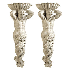 Atlantes God of the Sea Wall Sculpture: Set of Two