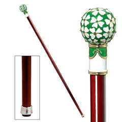 The Imperial Collection: Four Leaf Clover Faberge-Style Premium Enameled Walking Stick