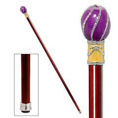 The Imperial Collection: Violet Viper Faberge-Style Premium Enameled Walking Stick