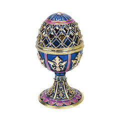 """Jeweled Trellis Faberge-Style Enameled Egg Collection"": Bleue"