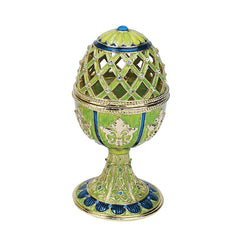 """Jeweled Trellis Faberge-Style Enameled Egg Collection"": Verte"