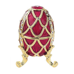 Golden Trellis Faberge Style Enameled Eggs: Rouge Egg
