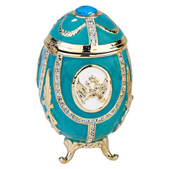 """Russian Imperial Eagle"" Faberge-Style Enameled Eggs Collection: Teal Green"