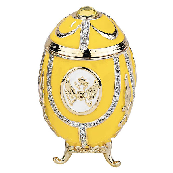 """Russian Imperial Eagle"" Faberge-Style Enameled Eggs Collection: Lemon Yellow"