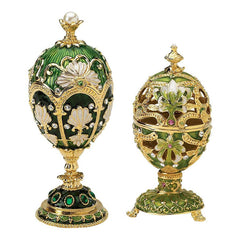 "6.5"" Russian Luxury Petroika Collection Faberge Style Enameled Eggs - Set of 2"