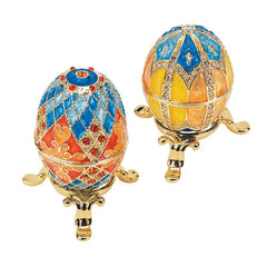 Classic Grand Duchess Collection Faberge-style Enameled Eggs - Set of 2