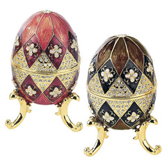 Harlequin Faberge Style Enameled Egg Set: Black & Mauve Eggs