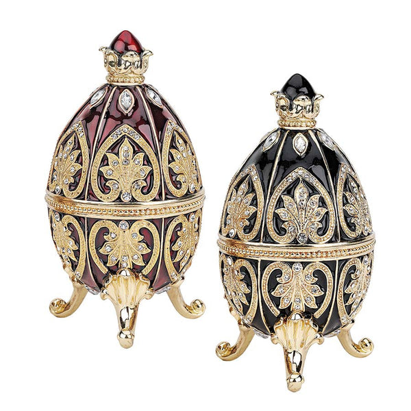 "4"" Russian Egg Collection Faberge-style Enameled Eggs - Set of 2"