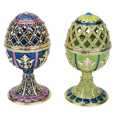"""Jeweled Trellis Faberge-Style Enameled Egg Collection"": Set of Two"
