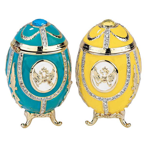 """Russian Imperial Eagle"" Faberge-Style Enameled Eggs Collection: Set of Two"