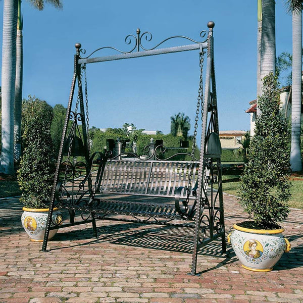 Tete Tete European French Iron Rosette Garden Porch Lawn Swing (Xoticbrands)