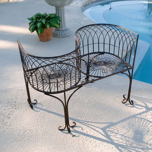 Decorative French Kissing Outdoor Poolside Garden Bench