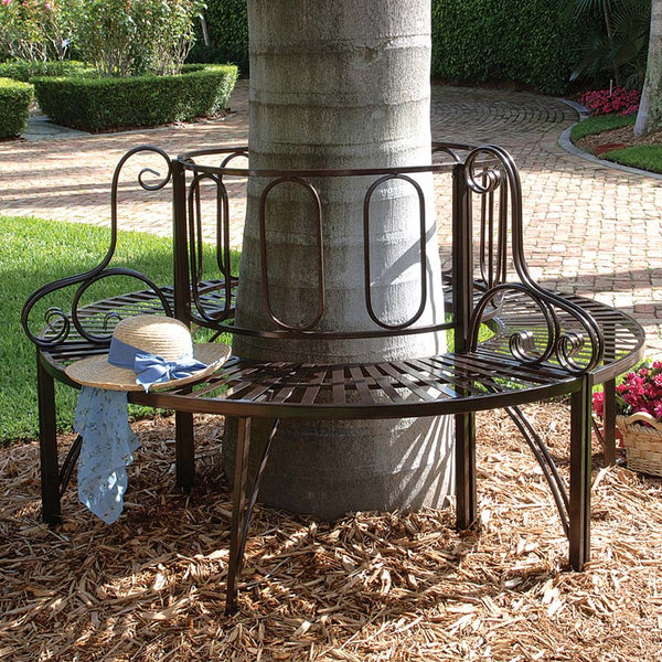 "37.5"" Classic Outdoor Furniture Roundabout Architectural Steel Garden Bench"