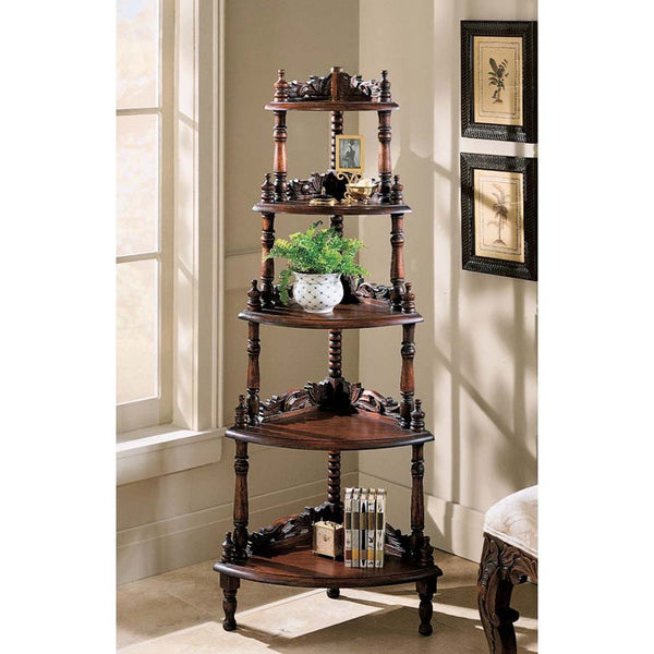 Decorative Five-tiered Edwardian Corner Shelf
