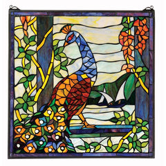 "22.5"" 400 Individually Hand-cut Pieces Peacocks Garden Stained Glass Window P..."