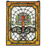 "25"" 225 Hand-cut Pieces of Art Glass Kendall Manor Stained Glass Window Panel"