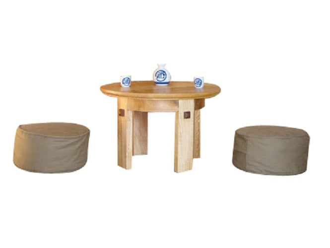 Seagrass Natural Mango Wood Tea Table With White Meditation Cushion