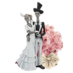 Gothic Bride Marriage Romantic Skeleton Sculpture Couple Statue