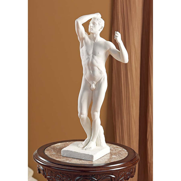 "21""h Auguste Rodin Nude Male While Sculpture"