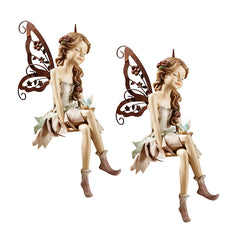 Angelic Sitting Fairy Garden Statue: Set of Two