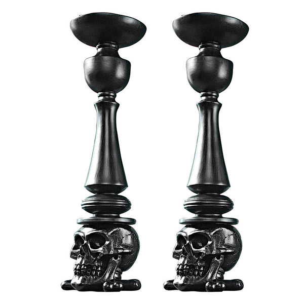 "14""H Tall Shadow of Darkness Sculptural Table Candlesticks: Set of Two"