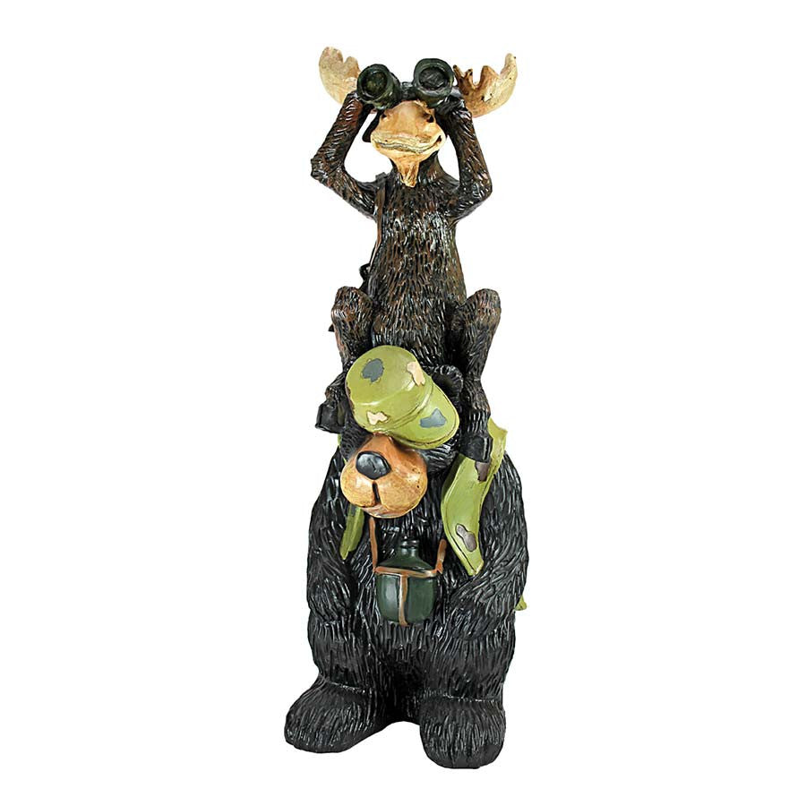 Moose And Bear Statue: Set Of Two