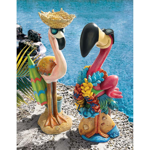Pink Flamingo Home Garden Pool Statues Sculpture - Set of 2