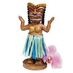 Dancing Tiki Sculpture Statue: Set of Two
