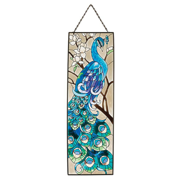 "16"" Peacock's Pageantry Hand-Painted Art Glass Window Panel"