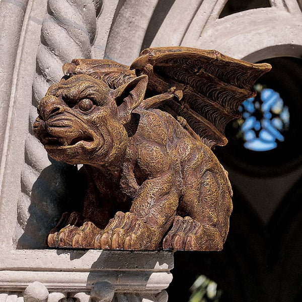 "11"" Classic Winged Castle Gargoyle Dog Home Garden Sculpture Statue Figurine"