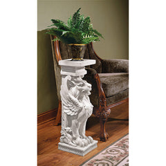 "30"" Trapezophoron Lion Griffin Sculptural Statue Winged Lion Pedestal (Xoticbrands)"