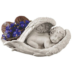 "5"" Safe in the Canopy of Angels Wings Cherub Child Statue Sculpture Figurine"