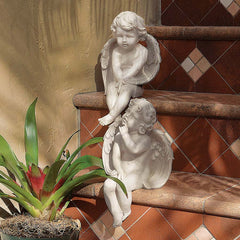 Classic Winged Angel Cherub Collection Statue Sculpture Figurine - Set of 2