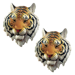 "14.5"" Classic Indonesian Tiger Wildlife Wall Sculpture Statue Figurine - Set of 2"