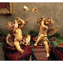 Collectors Italian Trumpeting Angels Cherub of St. Peter's Square Home Museum Gallery Inspired By By Artist Gian Lorenzo Bernin