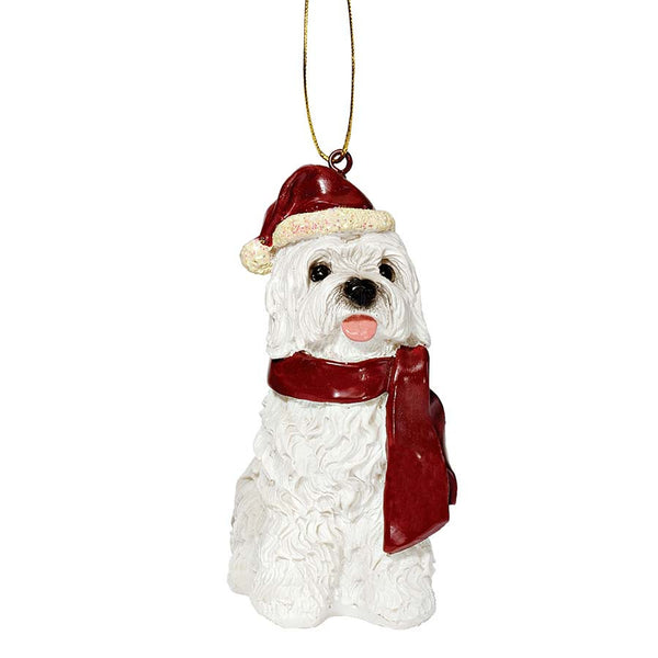 Maltese Holiday Dog Ornament Sculpture