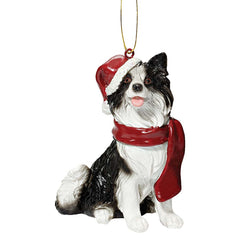 Border Collie Holiday Dog Ornament Sculpture