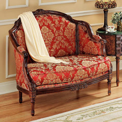 Hand Carved Hardwood French Salon Loveseat