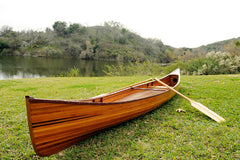 XoticBrands Decor Wooden Canoe 16 ft Boat  Model Display