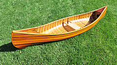 XoticBrands Decor Wooden Canoe With Ribs Curved bow 10ft