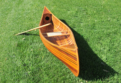 XoticBrands Decor Wooden Canoe With Ribs Curved Bow Matte Finish 10 ft