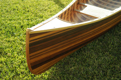 XoticBrands Decor Wooden Canoe With Ribs Curved Bow Matte Finish 12 ft