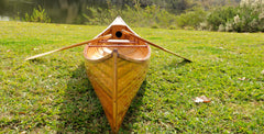 XoticBrands Decor Wooden Canoe With Ribs Curved Bow 12 ft