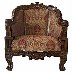 "41"" Luxury Gentlemen's Plush Chair Hand-carved Solid Hardwood Antique Replica Jacquard Upholstery"